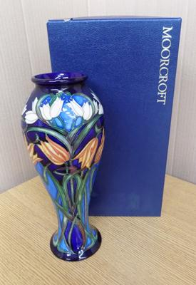 Moorcroft tulip vase , circa 2004, no damage, approx. 12 inches tall with box
