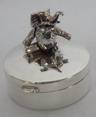 Sterling silver articulated elephant, first tooth/hair curl keepsake box
