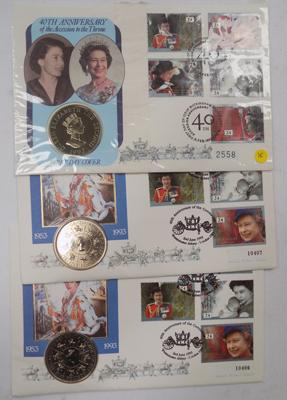 2x £5 coin covers 1993 40th Anniversary of Coronation and £2 coin cover Alderney 1992