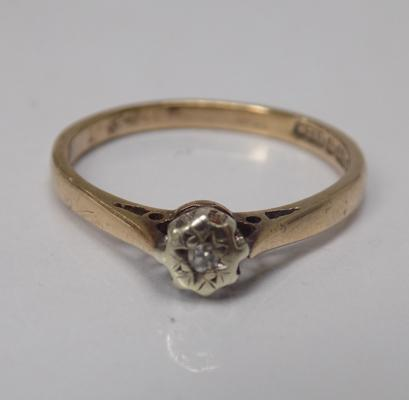 Vintage 9ct gold diamond solitaire ring, approx. size J 1/2, with full London Hallmarks, 1978