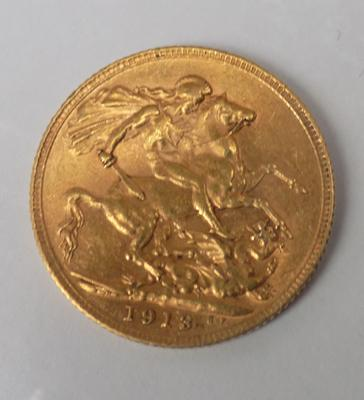 22ct gold full sovereign, dated 1913