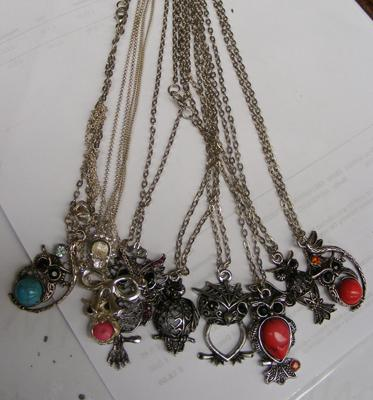 Selection of costume pendents and chain