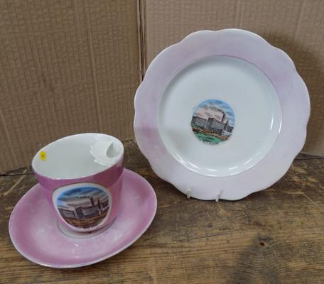 German made circa 1910 Edwardian trio; moustache cup, saucer and plate - made for Bradford Listers mill