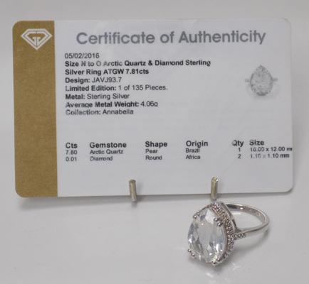 Sterling silver & large carat Artic Quartz ring with diamond accents - approx. size size N to O, with COA