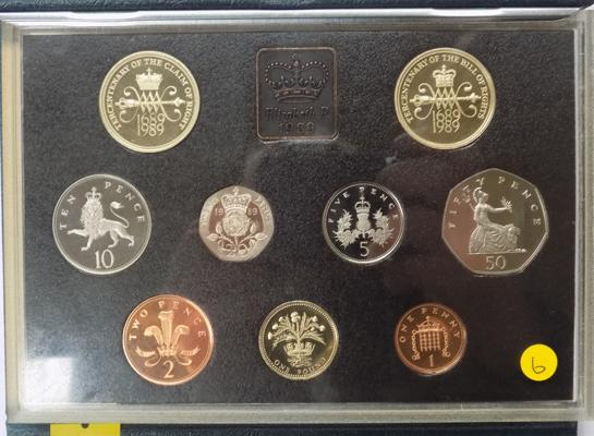 Royal mint proof coin set 1989 incl. bill and claim of rights £2 coins