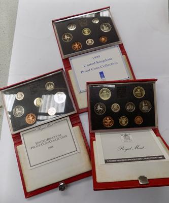 Set of three proof coin sets - 1988 - 1989 - 1990