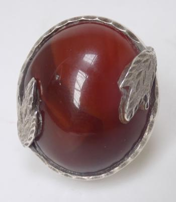 Large size silver ring with large stone - size adjustable
