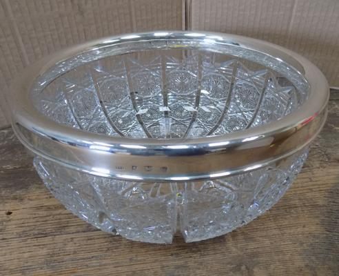 "Large lead crystal bowl with silver rim - approx. 9"" in diameter"