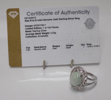Sterling silver & large carat genuine jade ring - approx. size N to O, with certificate