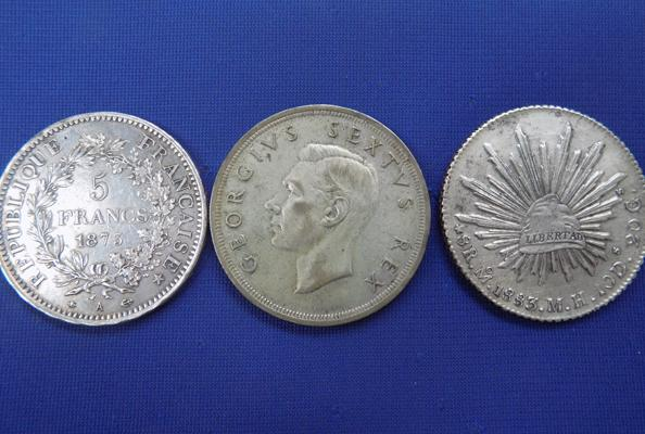 World silver crown coins x3 - Mexico, South Africa and France
