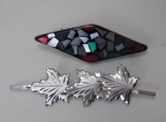 2 x silver brooches