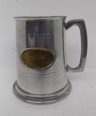 Hand crafted pewter tankard with brass Royal Mail plaque