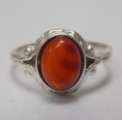 Silver & amber ring