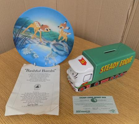 Limited Edition ceramic Eddie Stobart money box + Walt Disney Bambi collectable plate