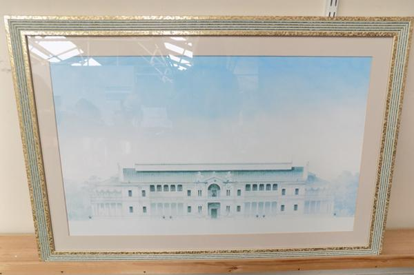 Large ornate framed picture of period building