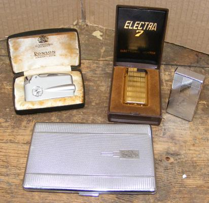 Selection of lighters, incl. Ronson, Electra & cigarette case