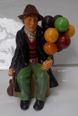 Vintage Royal Doulton 'Balloon Man', H.N. 1954 - good condition, early maker's mark (hairline crack to base)