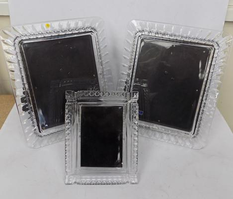 Three Waterford glass picture frames