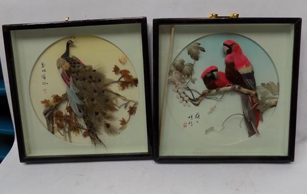 Pair of vintage Chinese feather art pictures