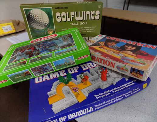 Collection of vintage board games - Subbuteo, Game of Dracula, Operation, Golfwinks