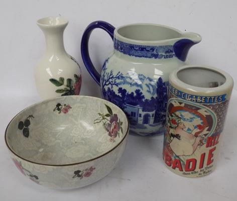4 x pieces of vintage pottery, incl. Dragon, Victoria ware etc...