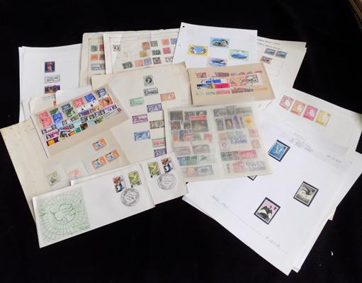 Selection of British Commonwealth stamps on cards etc...