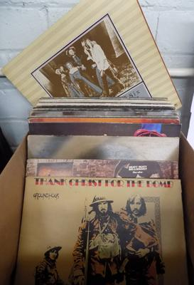 Box of vinyl LPs - Rock, Ground Hogs, the Who, Focus, ELP, Rick Wakeman