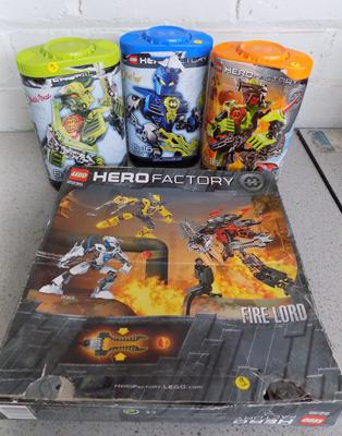 4 x Lego Hero factory 2235/2142/7169/7165 - complete with instructions