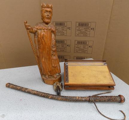 Hand carved figurine - king + other wooden items