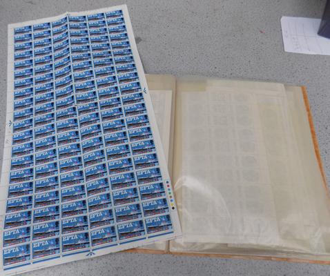 Large selection of unused sheets of stamps-over 6000 in total
