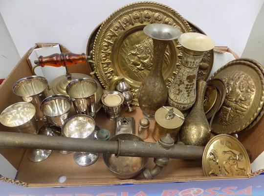 Selection of brass & silver plate