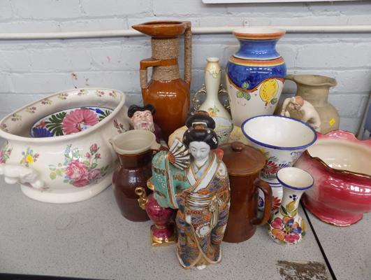 Box of pottery, incl. French Studio pottery, Melba ware