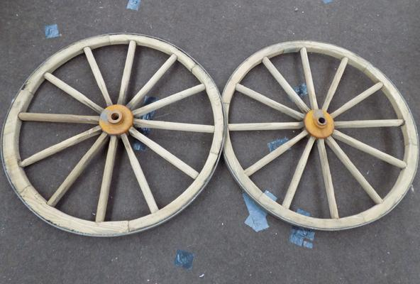 Pair of cart wheels with axle, will make good display cart for plants etc...