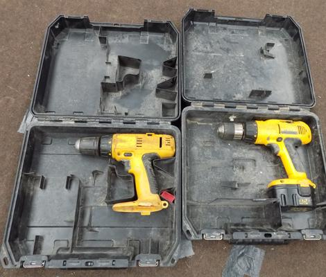 Two Dewalt 18v drills in cases, no batteries or charger