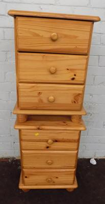 Pair of pine bedside drawers