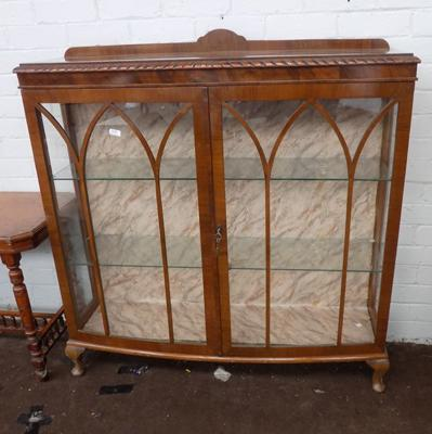 Bow fronted china display cabinet