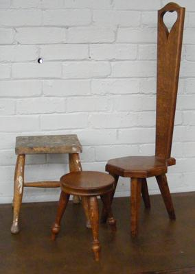 Oak spinning chair & two small stools (woodpecker carving on spinning chair)