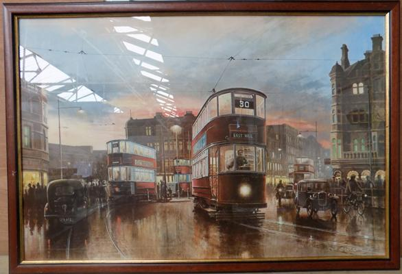 Large East Hill tram print by Don Breckon 1979