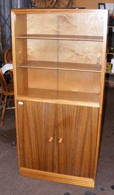 Retro glass fronted bookcase with cupboard