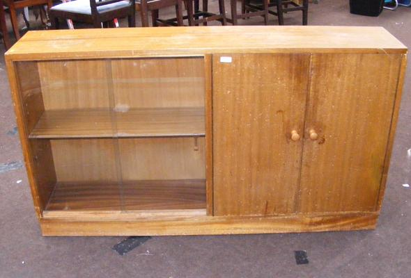 Retro glass fronted bookcase/cupboard