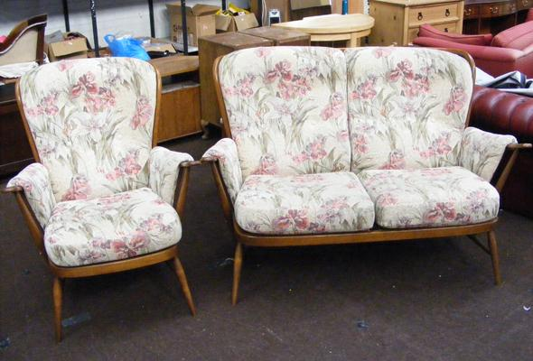 Ercol floral patterned two seater settee & armchair