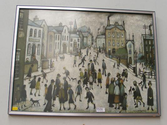 Framed LS Lowry print 'A Village Square'