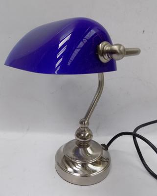 Blue shaded banker's lamp