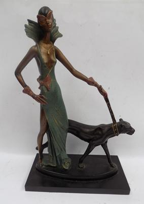 Art Deco lady, in pose with dog