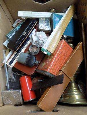 Box of mixed collectables, incl.flasks, rulers etc...