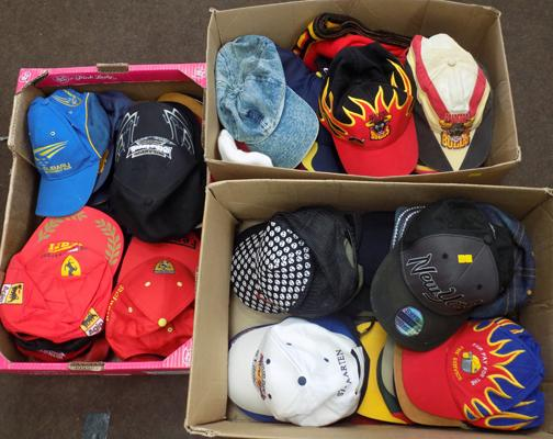 Three boxes of baseball caps, racing, sporting, vintage - approx. 90