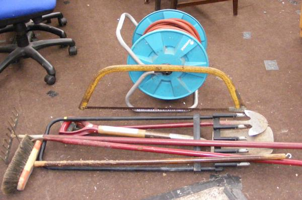 Hose on reel & selection of garden tools