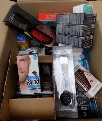 Box of new items, incl. hair brushes & Just For Men - as seen