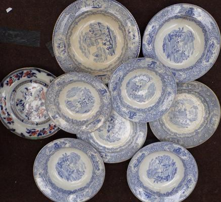 Selection of blue & white ware inc Oriental