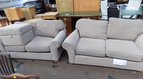 2x Two seater sofa's & pouffe